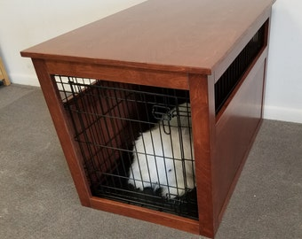 Large Wire Crate With Partially Enclosed Side Wooden Cover For Dog. Puppy,  Or Cat