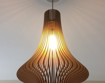 Porcelain-inspired laser cut wooden lampshade No.3