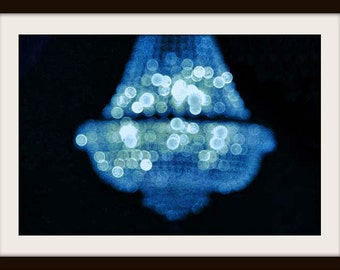 Chandelier Wall Art, Chandelier Print, Abstract Photography, Bokeh, Blue Wall Art, Dreamy Photo, Surreal Art