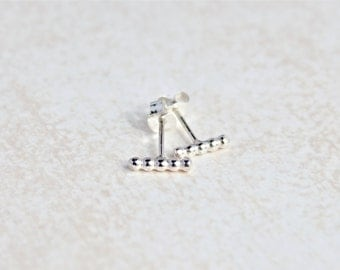 Dotted Bar Earrings.  Sterling Silver earrings.  Simple, everyday wear earrings.