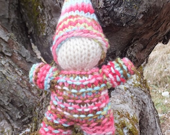 Hand Knitted wool gnome, Waldorf toy, Waldorf doll, Natural toy, Eco toy, Birthday gift, Christmas gift