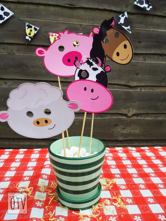 BARNYARD Animal - Farm - Cow - Pig - Sheep - Horse - Masks - Photobooth Props - PRINTABLES - PDF - Digital Files - Instant Download