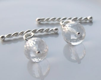 Clear Quartz Cufflinks, Faceted Gemstone Cufflinks, Silver Cufflinks, Gift for him, April birthstone cufflinks