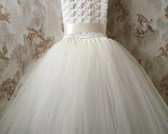 White and ivory flower girl tutu dress, birthday tutu dress, crochet tutu dress, corset tutu dress