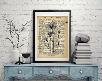Flowers - Vintage Dictionary Page Art Print