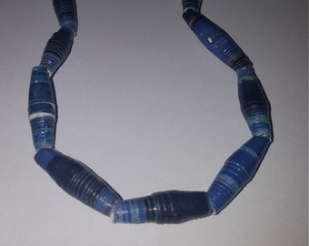 Recycled paper bead necklace - blue 23 in. Recycled paper bead handmade necklace
