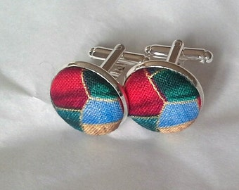 Christmas cufflinks stained glass festive cuff links
