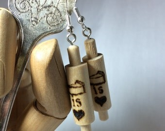 "Wood burned ""Pie is Love"" Earrings"