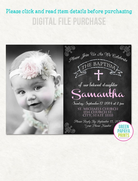 Printable Girls Baptism Invitation Christening Invite