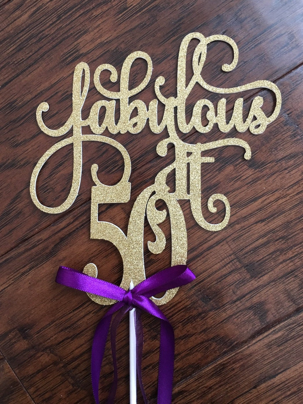 50 Fabulous Ways To Wear Glitter Nails Like A Boss: Fabulous At 50 Birthday Cake Topper Fab At 50 By
