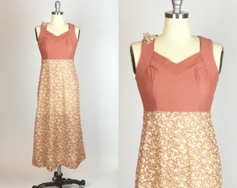 1940s. mauve floral print dress. size extra small-small