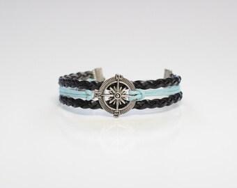 Compass Black Blue Cord Bracelet