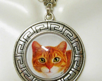 Orange tabby kitty pendant with chain - CAP26-004