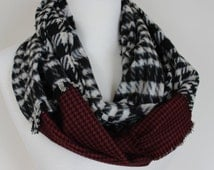 Houndstooth Scarf, Flannel Infinity Scarf, Women's Men's Scarf, Burgundy Black Loop Scarf, Houndstooth Winter Scarf, Gift For Him,Warm Scarf