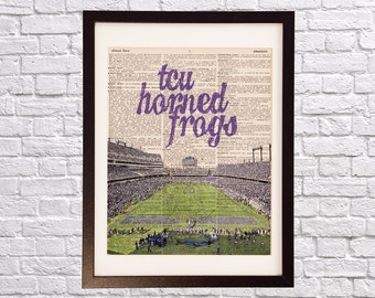 TCU Horned Frogs Football Dictionary Print - Texas Christian University, Fort Worth Texas - Vintage Dictionary - Amon G. Carter Stadium