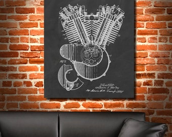 Retro 1919 Engine by Harley-Davidson - Art Print Poster or Canvas, Vintage Illustration, Wall Art, Home Decor, Harley Davidson, Gift 627