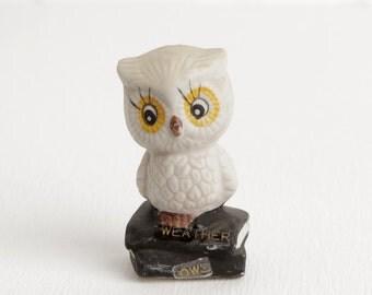 Vintage Ceramic Owl Figurine, Weather Owl on Stack of Books