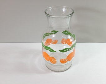 Vintage Juice Pitcher - Clear Glass botlle with Oranges and leaves by Anchor Hocking - Vintage Anchor Hocking corp 1987