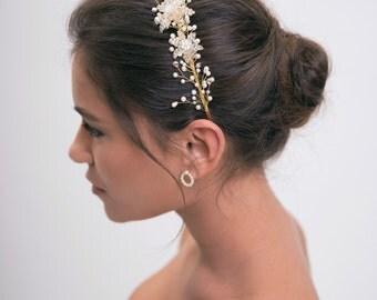 Bridal headband, pearl hair accessories, wedding hair piece, pearl headband, bride headpiece, floral crown, flower tiara, wedding tiara