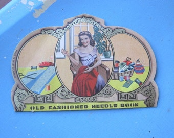 1930s-40s Old Fashioned Needle Book with Alluring Vintage Noir Temptress/Housewife~Antique Sewing Needles; Free Ship/U.S. - Collectible
