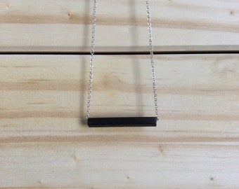 Bar necklace, geometric necklace, minimalistic necklace, modern necklace, black tube necklace