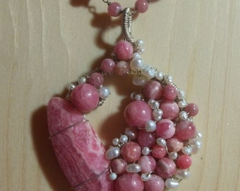 Rhodochrosite and Freshwater Pearl Sterling Necklace, Wire Wrapped, OOAK