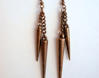 Bronze Earrings - Dangle Earrings - Long Earrings - Vintage Earrings