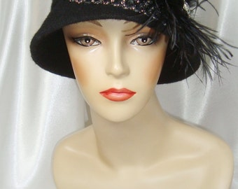 Black Beaded 1920s Wool Cloche Hat, Downton Abbey and Great Gatsby Inspired Hat