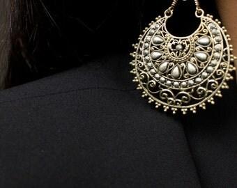 Gold Earrings/Gold Chandelier Earrings/Circle Shape Earrings/Dangle Gold Earrings/Boho Earrings/Tribal Gold Earrings/Statement Earrings