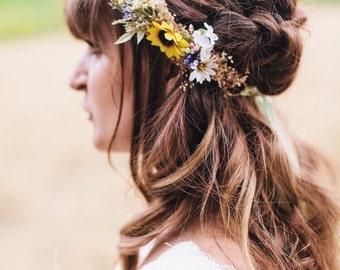 Sunflower & Wild Daisy Flower Crown - Sunflower Bridal Halo - Rustic Flower Girl Crown - Engagement Photos- Fall Wedding Flower Crown
