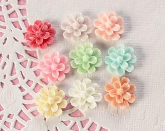 9 Pcs Intricate Petal Pom Pom Flower Cabochons - 20mm