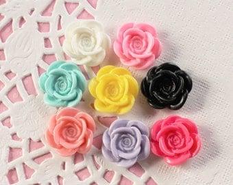8 Pcs Spiral Rose Flower Cabochons - 20mm