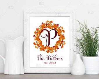 Autumn Wreath with Last Name Initial - PRINTABLE Wall Art / Fall wreath with letter / Fall wreath / family established date / custom wreath