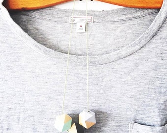 Hexagon necklace | Wooden geometric necklace | Hand painted beads