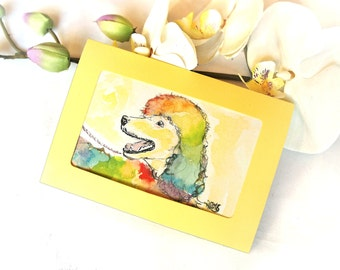 Poodle colorful picture, hand painted art, small artwork of oswoa poodle, poodle dog in Rainbow colors, watercolor and watercolor dog poodle, handmade