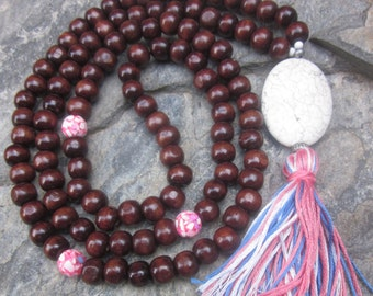 108 bead mala long beaded necklace prayer beads sepia brown wooden beads wood mala pink blue white tassel necklace extra long jewelry set