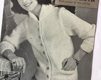 Vintage 1960s knitting pattern jacket for men & women original vintage 60s knitting pattern