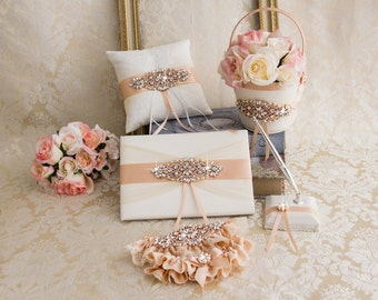 Rose Gold Ring Bearer Pillow, Flower Girl Basket, Rose Gold Flower Girl Basket and Ring Bearer Pillow Set, Wedding Pillow, Guest Book