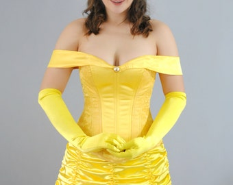 Belle Inspired Overbust Steel Boned Corset Ball Gown Costume - Adult
