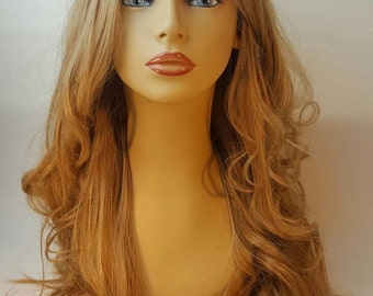 Long Blonde Wig,  Long Layered Wig with Multi-Texured Waves and Volume with Natural Looking Part.
