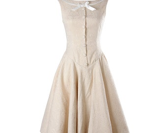 Beige dress, Audrey Hepburn dress, Elegant dress, Princess dress, Wedding dress, Classic dress, High waist dress, Cute dress, Day dress MS69