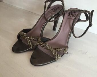 vintage sandals size 39,  gray shoes ,  vintage shoes, woman, summer