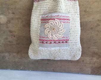vintage handmade italian cotton  bag ,woman fashion bag,  small bag, hippie, boho chic handbag