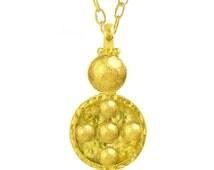 Sale 20% Solid 18k Gold 40mm 4.5g Width 21mm Dome Disks Byzantine Empire Hammered Fine Gold Pendant Men Women by Ella Kripaka