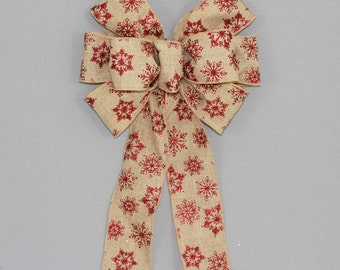 Red Snowflake Burlap Christmas Wreath Bow - Mantel Bow, Garland Bow, Christmas Tree Topper Bow, Burlap Christmas, Country Christmas Bow