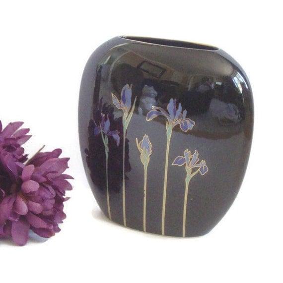 Otagiri Blue Iris Vase Otagiri Japan Black Vase Modern