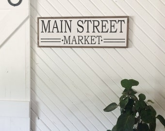 Main street market framed distressed wood sign 9x36