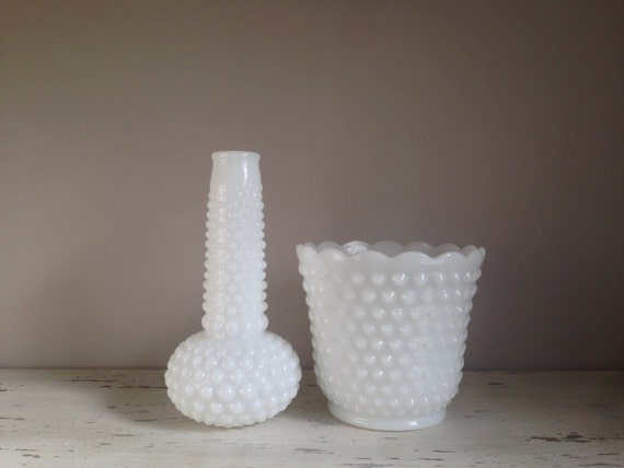 Set of Jardiniere Hobnail-Milk Glass Vases / Hobnail / Milk Glass