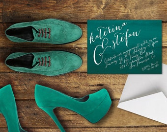 Engagement Party Invitations / Engagement Dinner or Pre- Wedding Invitations / Teal Green Watercolor Ombre / PRINTED We're Engaged Cards