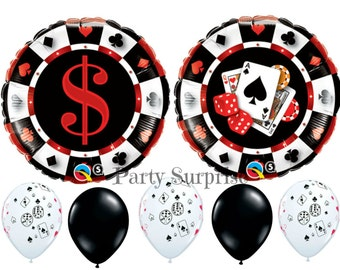 Casino Party Balloons Casino Decorations Roulette Wheel Dice Card Poker Game Suits Hearts Clubs Roulette Wheel Balloon